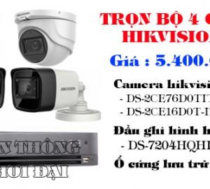 Trọn bộ 4 camera hikvision 2.0 mp