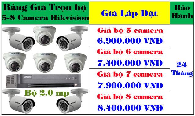 Lắp đặt camera quan sát bộ 5 - 6 - 7- 8 camera hikvision