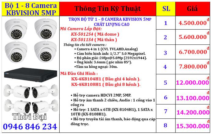 Lắp đặt trọn bộ camera kbvision 5mp