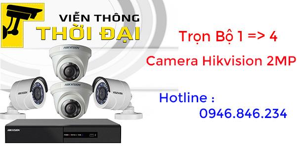 Trọn bộ 1 đến 4 camera hikvision