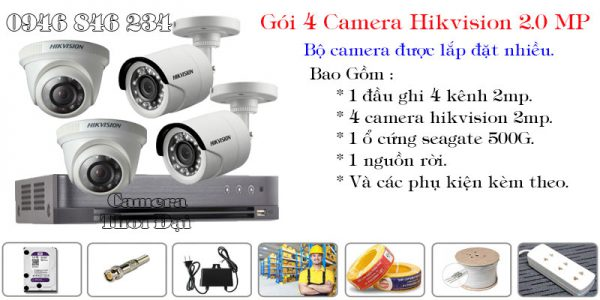Bộ 4 camera hikvision 2mp phổ biến