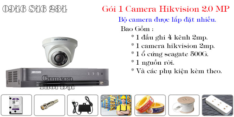 Bộ 1 camera hikvision 2mp phổ biến