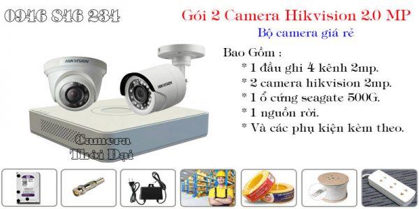 Bộ 2 camera hikvision 2mp giá rẻ