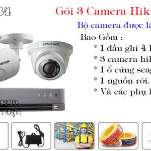 Bộ 3 camera hikvision 2mp phổ biến