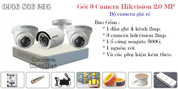 Bộ 3 camera hikvision 2mp giá rẻ