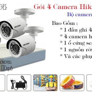 Bộ 4 camera hikvision 2mp giá rẻ
